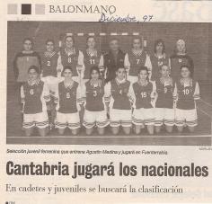 1997 12 Selección cántabra juvenil femenina