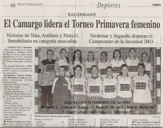 2003 05 15 Cadete fem